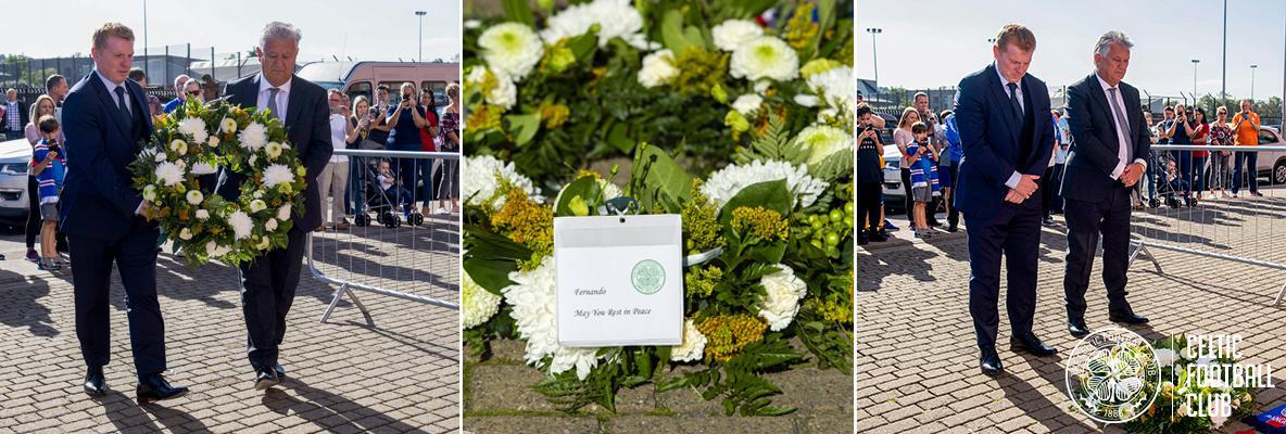 Neil Lennon and Peter Lawwell pay respect to Fernando Ricksen